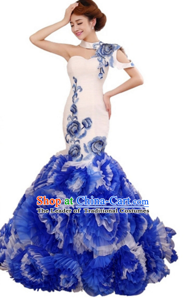 Top Stunning Beautiful Chinese Elegant Classical Cultural Blue White Long Trail Evening Dress Wedding Dress
