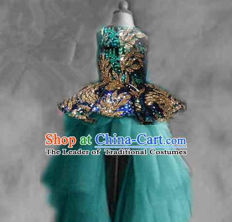 Top Grade Chinese Compere Catwalks Performance Costume, Children Chorus Singing Group Baby Princess Peacock Blue Full Dress Modern Dance Trailing Dress for Girls Kids