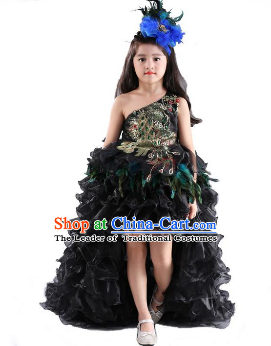Top Grade Chinese Compere Catwalks Performance Costume, Children Chorus Singing Group Baby Princess Embroidery Feathers Full Dress Modern Dance Trailing Dress for Girls Kids