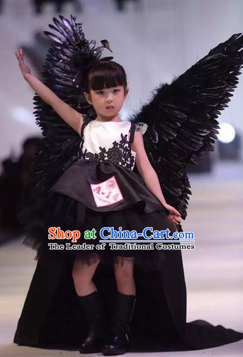 Top Grade Chinese Compere Piano Performance Costume, Children Chorus Singing Group Baby Princess Full Dress With Wings Modern Dance Veil Bubble Dress for Girls Kids