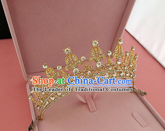 Top Grade Handmade Classical Hair Accessories, Children Baroque Style Princess Crystal Golden Royal Crown Hair Jewellery Hair Clasp for Kids Girls