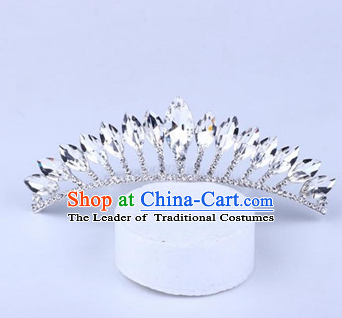 Top Grade Handmade Classical Hair Accessories, Children Baroque Style Crystal Rhinestone Princess Royal Crown Hair Jewellery Hair Clasp for Kids Girls