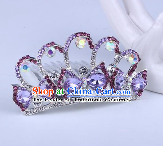 Top Grade Handmade Classical Swan Hair Accessories, Children Baroque Style Crystal Hairpins Rhinestone Princess Purple Royal Crown Hair Jewellery Hair Clasp for Kids Girls