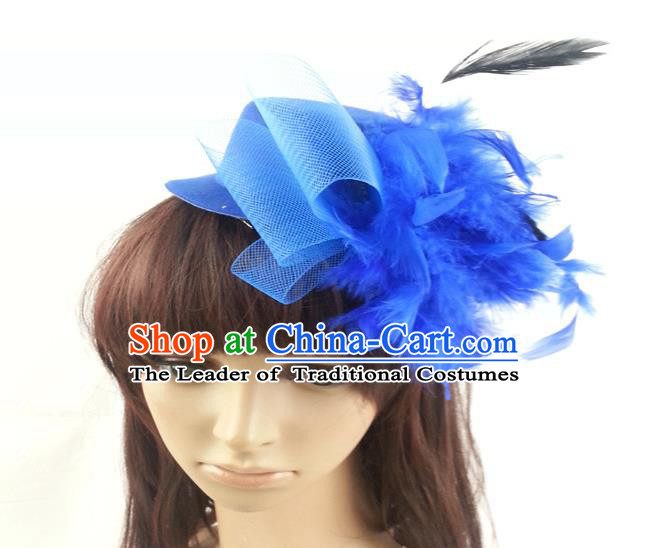 Top Grade Handmade Classical Hair Accessories Bobby Pin, Children Blue Feathers Hairpins Hair Clasp for Kids Girls