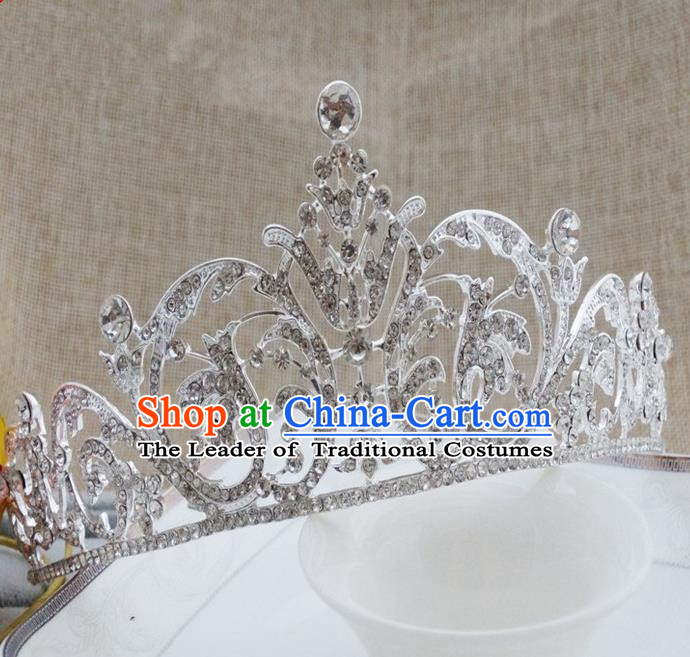 Top Grade Handmade Classical Hair Accessories, Children Baroque Style Crystal Royal Crown Princess Hair Jewellery Hair Clasp for Kids Girls
