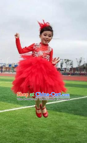 Top Grade Chinese Compere Performance Costume, Children Chorus Singing Group Red Crystal Full Dress Modern Dance Bubble Dress for Girls Kids