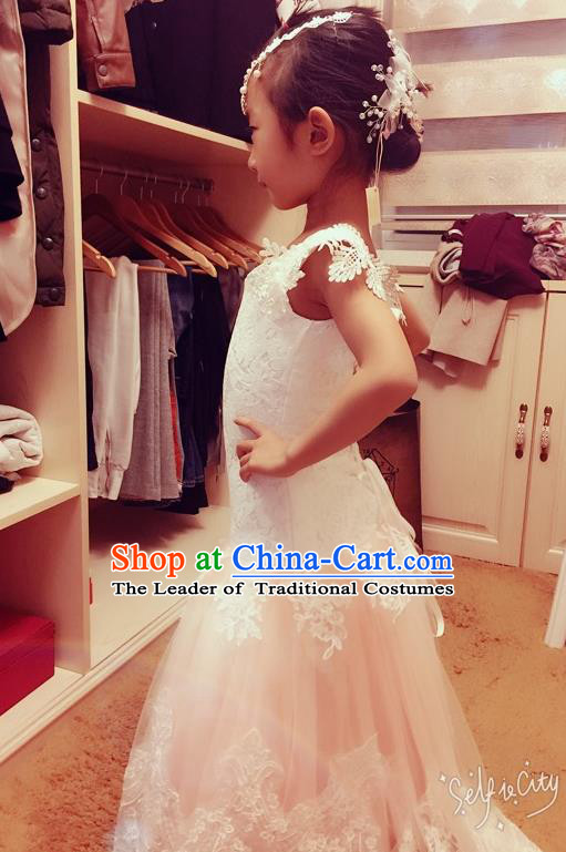 Top Grade Chinese Compere Performance Costume, Children Chorus Singing Group Baby Princess Mermaid Full Dress Modern Dance Bubble Lace Dress for Girls Kids