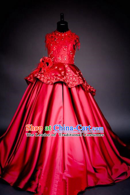 Top Grade Chinese Compere Performance Costume, Children Chorus Singing Group Baby Princess Red Full Dress Modern Dance Big Swing Long Dress for Girls Kids