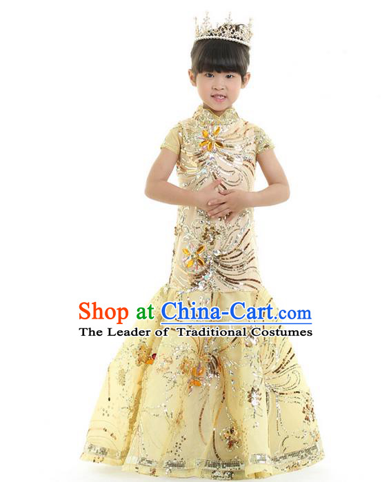 Top Grade Chinese Compere Performance Catwalks Costume, Children Chorus Singing Group Baby Princess Full Dress Modern Dance Mermaid Long Dress for Girls Kids