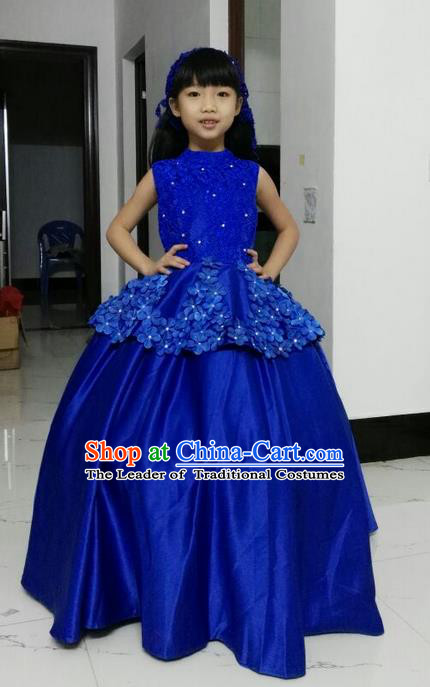 Top Grade Chinese Compere Performance Catwalks Costume, Children Chorus Singing Group Baby Princess Blue Full Dress Modern Dance Big Swing Long Dress for Girls Kids