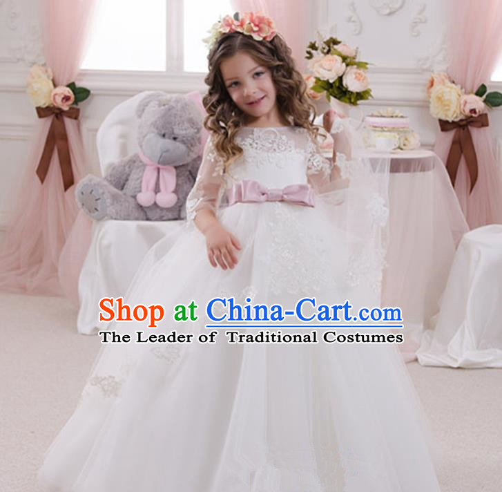 Top Grade Chinese Compere Performance Catwalks Costume, Children Chorus Singing Group Baby Princess White Bubble Full Dress Modern Dance Big Swing Long Dress for Girls Kids