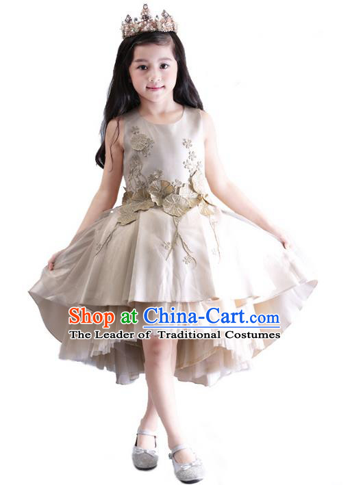 Top Grade Chinese Compere Performance Catwalks Costume, Children Chorus Singing Group Baby Princess Short Bubble Full Dress Modern Dance Trailing Dress for Girls Kids