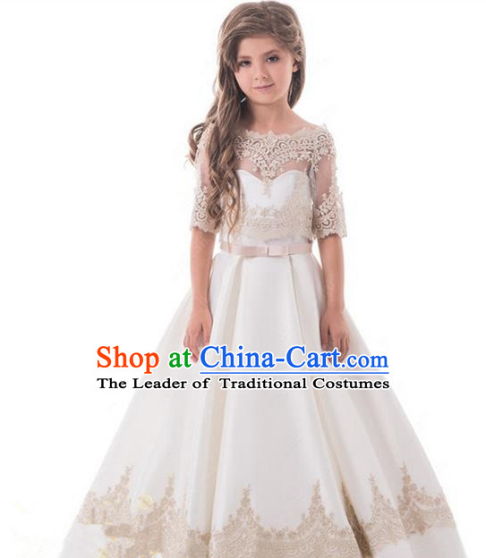 Top Grade Professional Compere Performance Catwalks Costume, Children Chorus Singing Group Baby Princess Wedding Full Dress Modern Dance Big Swing Bubble Dress for Girls Kids
