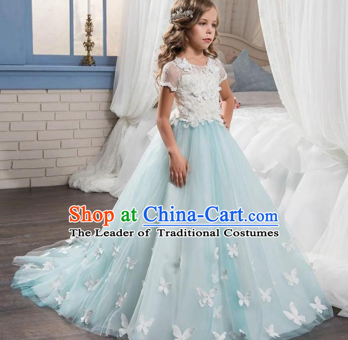 Top Grade Professional Compere Performance Catwalks Costume, Children Chorus Singing Group Baby Princess Lace Butterfly Wedding Full Dress Modern Dance Trailing Long Dress for Girls Kids