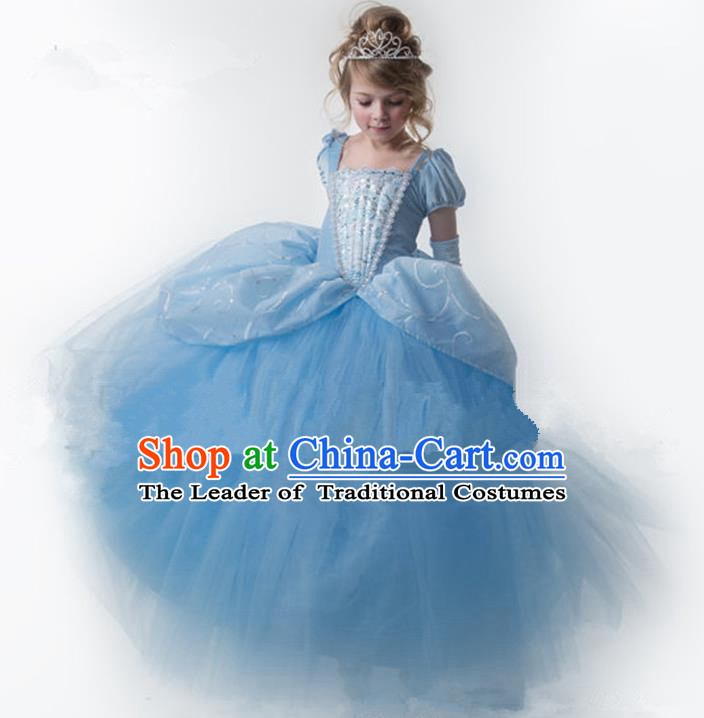 Top Grade Chinese Compere Performance Catwalks Costume, Children Chorus Singing Group Baby Princess Blue Big Swing Full Dress Modern Dance Trailing Bubble Dress for Girls Kids
