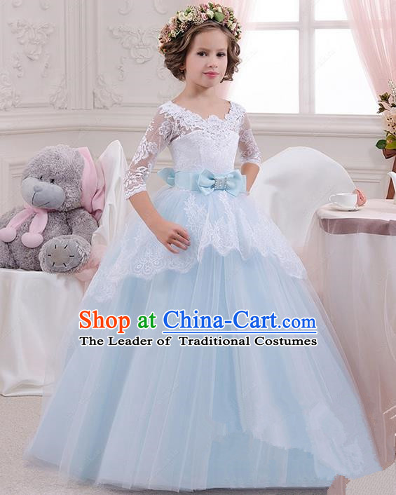 Top Grade Chinese Compere Performance Catwalks Costume, Children Chorus Singing Group Baby Princess Blue Lace Full Dress Modern Dance Bubble Long Dress for Girls Kids