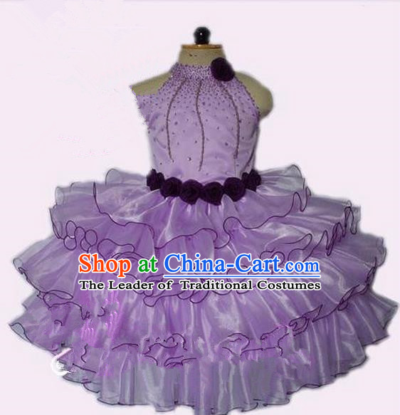 Top Grade Professional Compere Performance Catwalks Costume, Children Chorus Singing Group Little Princess Crystal Full Dress Modern Dance Light Purple Bubble Dress for Girls Kids