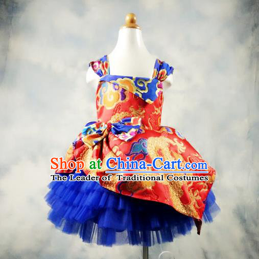 Top Grade Professional Compere Performance China Style Catwalks Costume, Children Chorus Singing Group Dragon Full Dress Modern Dance Bubble Dress for Girls Kids
