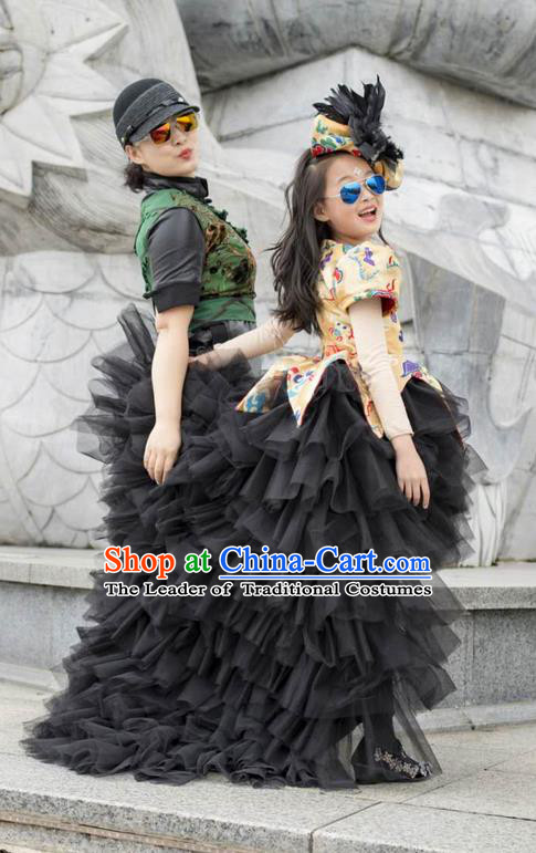 Top Grade Professional Compere Performance China Style Catwalks Costume, Children Chorus Singing Group Dragon Robes Black Full Dress Modern Dance Trailing Dress for Girls Kids