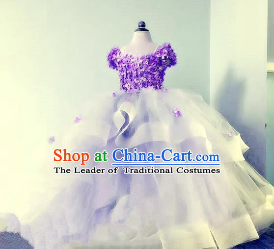 Top Grade Professional Compere Performance Catwalks Costume, Children Chorus Singing Group Baby Princess Flowers Purple Full Dress Modern Dance Trailing Bubble Dress for Girls Kids