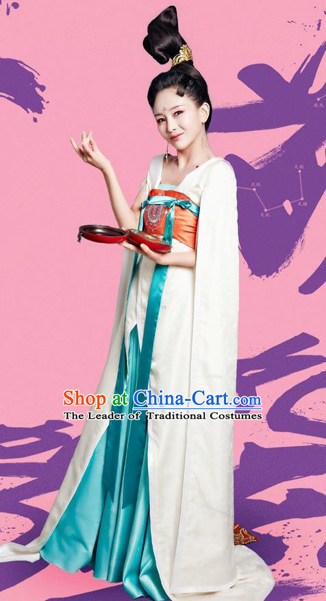 Traditional Ancient Chinese Elegant Imperial Consort Costume and Handmade Headpiece Complete Set, Chinese Television Drama Concubine Meng Comes Across Palace Lady Dress Chinese Tang Dynasty Princess Clothing for Women