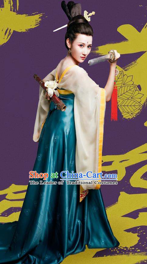 Traditional Ancient Chinese Elegant Swordswoman Costume and Handmade Headpiece Complete Set, Chinese Television Drama Concubine Meng Comes Across Palace Lady Dress Chinese Tang Dynasty Princess Clothing for Women