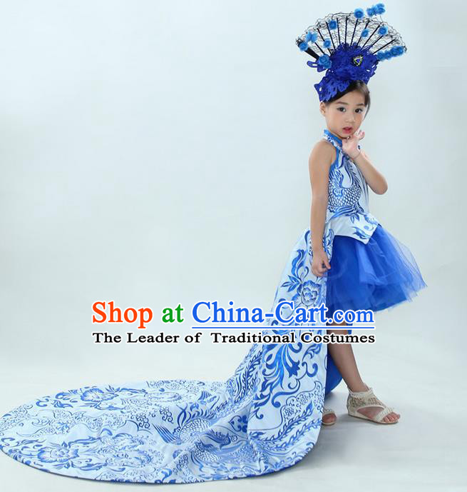 Top Grade Chinese Compere Professional Performance China Style Catwalks Costume, Children Chorus Blue and White Porcelain Formal Dress Modern Dance Baby Princess Long Trailing Dress for Girls Kids