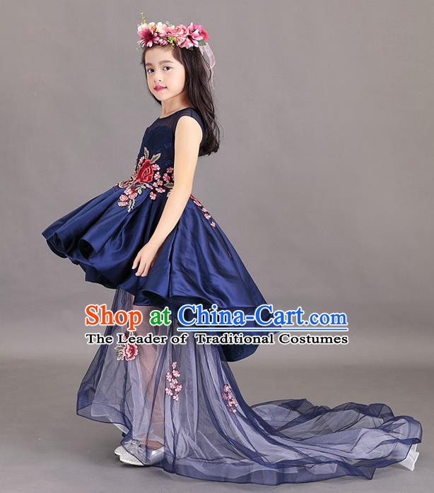 Top Grade Chinese Compere Professional Performance China Style Catwalks Costume, Children Chorus Embroidery Peony Wedding Formal Dress Modern Dance Baby Princess Long Trailing Dress for Girls Kids
