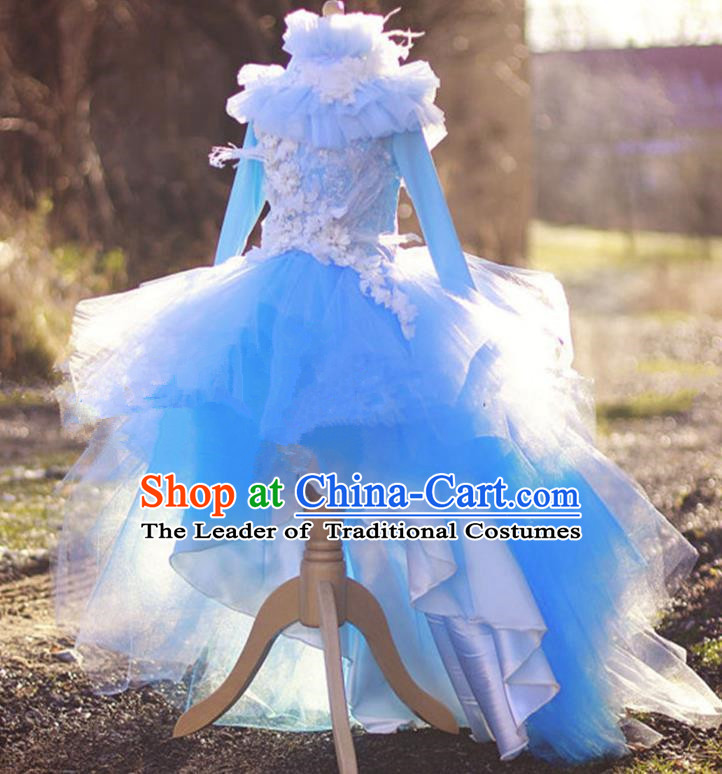 Top Grade Chinese Compere Professional Performance Catwalks Costume, Children Chorus Luxury Flower Fairy Blue Wedding Bubble Formal Dress Modern Dance Baby Princess Long Trailing Dress for Girls Kids