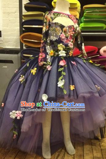 Top Grade Compere Professional Performance Catwalks Costume, Children Chorus Blue Bubble Backless Formal Dress Modern Dance Baby Princess Long Trailing Dress for Girls Kids