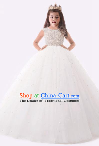 Top Grade Compere Professional Performance Catwalks Costume, Children Chorus Pearl White Formal Dress Modern Dance Baby Princess Ball Gown Long Dress for Girls Kids