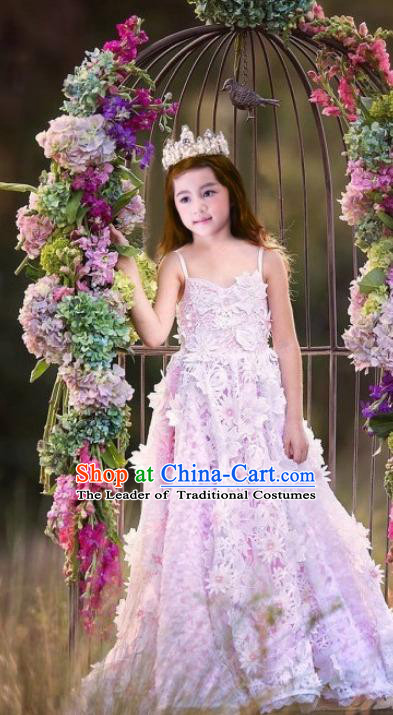 Top Grade Compere Professional Performance Catwalks Costume, Children Chorus Pink Flower Fairy Formal Dress Modern Dance Baby Princess Ball Gown Long Trailing Slip Dress for Girls Kids