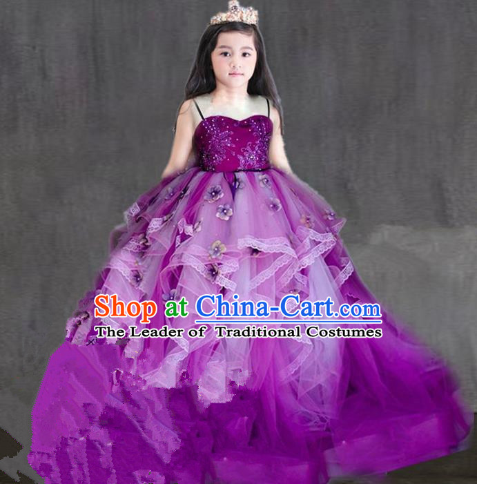 Top Grade Professional Compere Performance Catwalks Costume, Children Chorus Singing Group Purple Flowers Bubble Full Dress Modern Dance Ball Gown Long Trailing Dress for Girls Kids