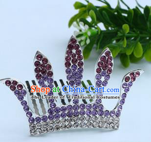 Top Grade Handmade Classical Hair Accessories, Children Baroque Style Purple Crystal Baby Princess Royal Crown Twist Inserted Comb Hair Comb Jewellery for Kids Girls