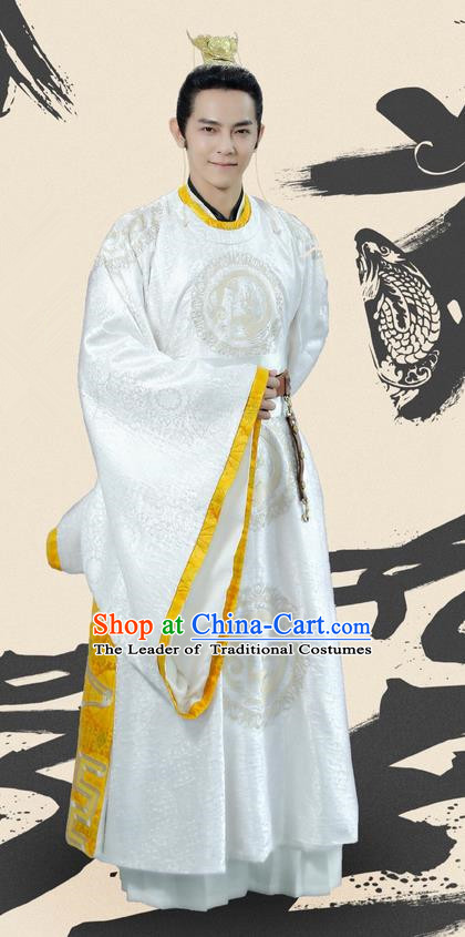 Traditional Ancient Chinese Elegant Prince Costume and Handmade Headpiece Complete Set, Chinese Television Drama Concubine Meng Comes Across Dandies Robes Chinese Tang Dynasty Imperial Childe Clothing for Men