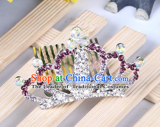 Top Grade Handmade Classical Hair Accessories, Children Baroque Style Purple Crystal Baby Princess Little Alloy Royal Crown Twist Inserted Comb Hair Comb Jewellery for Kids Girls