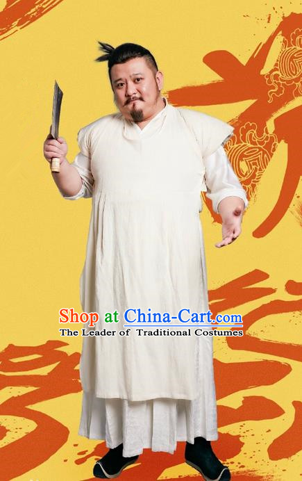 Traditional Ancient Chinese Butcher Costume Complete Set, Chinese Television Concubine Meng Comes Across Tang Dynasty Meatman Clothing for Men