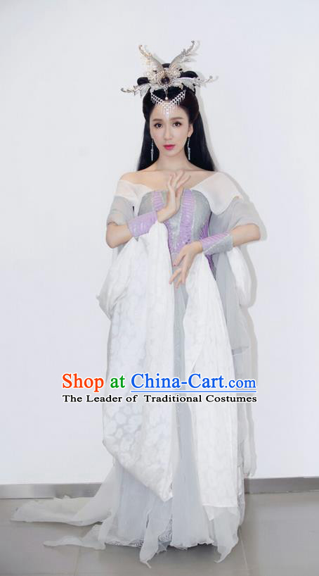 Traditional Ancient Chinese Princess Flying Dance Costume and Handmade Headpiece Complete Set, Chinese Tang Dynasty Princess Dress Imperial Consort Peri Clothing for Women