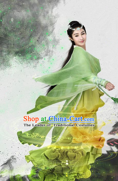 Traditional Ancient Chinese Aristocratic Young Lady Costume and Handmade Headpiece Complete Set, Chinese Ming Dynasty Female Suit, Cosplay Chinese Television Swords of Legends Princess Hanfu Clothing for Women
