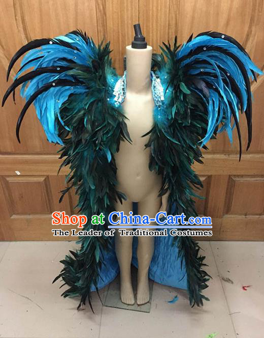 Top Grade Compere Professional Performance Catwalks Swimsuit Costume, Children Chorus Blue Feather Formal Dress Modern Dance Modern Fancywork Long Trailing Dress for Boys Kids