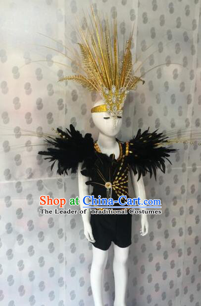 Top Grade Compere Professional Performance Catwalks Costume, Children Chorus Black Feather Clothing Modern Dance Modern Fancywork Clothing for Boys Kids