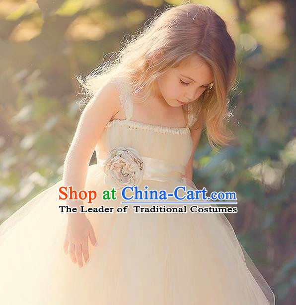 Top Grade Compere Professional Performance Catwalks Costume, Children Chorus Handmade Customize Champagne Bubble Full Dress Modern Dance Baby Princess Modern Fancywork Ball Gown Dress for Girls Kids