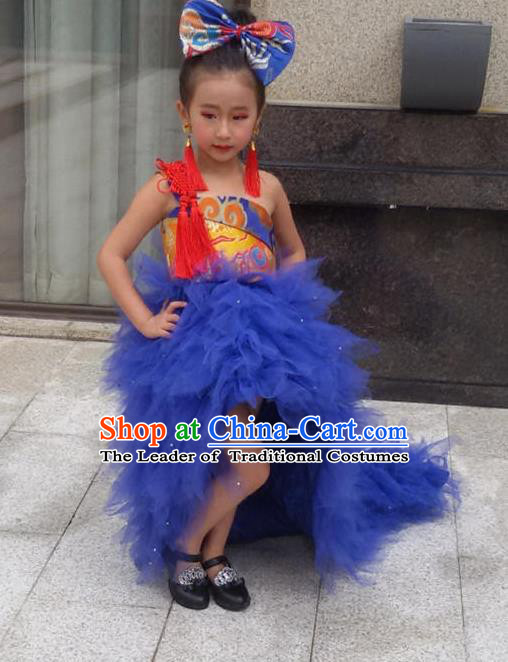 Top Grade Compere Professional Performance Catwalks Costume, Children Chorus Handmade Customize Blue Bubble Full Dress Modern Dance Baby Princess Modern Fancywork Ball Gown Long Trailing Dress for Girls Kids