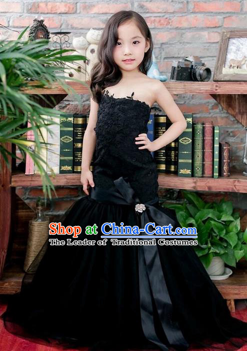 Top Grade Compere Professional Performance Catwalks Costume, Children Chorus Black Fishtail Formal Dress Modern Dance Baby Princess Modern Fancywork Ball Gown Long Mermaid Dress for Girls Kids