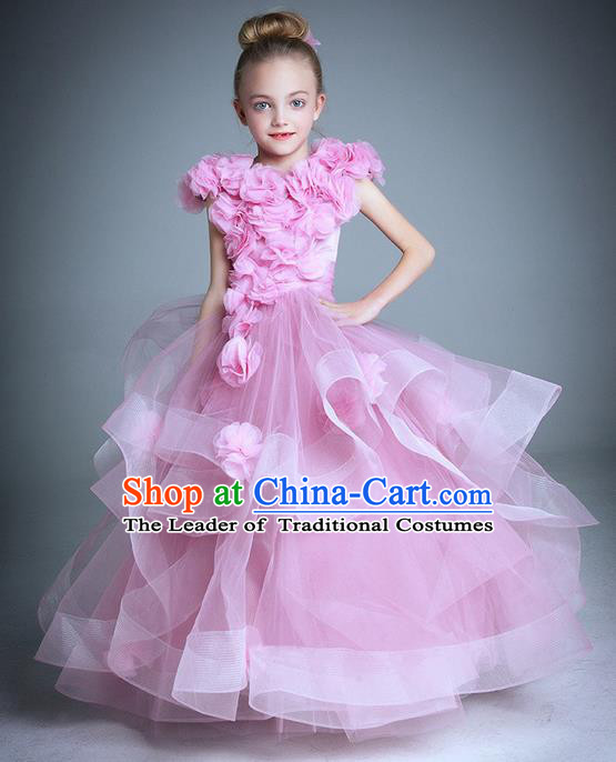Top Grade Compere Professional Performance Catwalks Costume, Children Chorus Handmade Customize Pink Flowers Bubble Full Dress Modern Dance Baby Princess Modern Fancywork Ball Gown Long Trailing Dress for Girls Kids