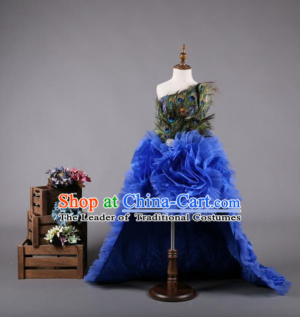 Top Grade Compere Professional Performance Catwalks Costume, Children Chorus Handmade Customize Peacock Feather Full Dress Modern Dance Baby Princess Modern Fancywork Ball Gown Long Trailing Dress for Girls Kids