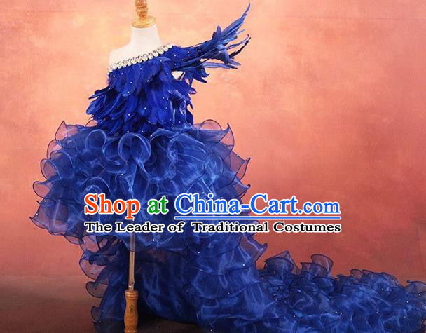 Top Grade Compere Professional Performance Catwalks Costume, Children Chorus Customize Blue Bubble Full Dress Modern Dance Baby Princess Modern Fancywork Ball Gown Long Trailing Dress for Girls Kids