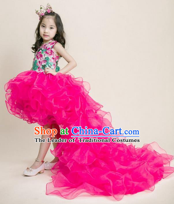 Top Grade Compere Professional Performance Catwalks Costume, Children Chorus Pink Veil Formal Dress Modern Dance Baby Princess Modern Fancywork Long Trailing Dress for Girls Kids