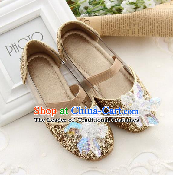 Top Grade Handmade Classical Crystal Shoes, Children Baroque Style Wedding Princess Golden Dance Shoes for Kids Girls