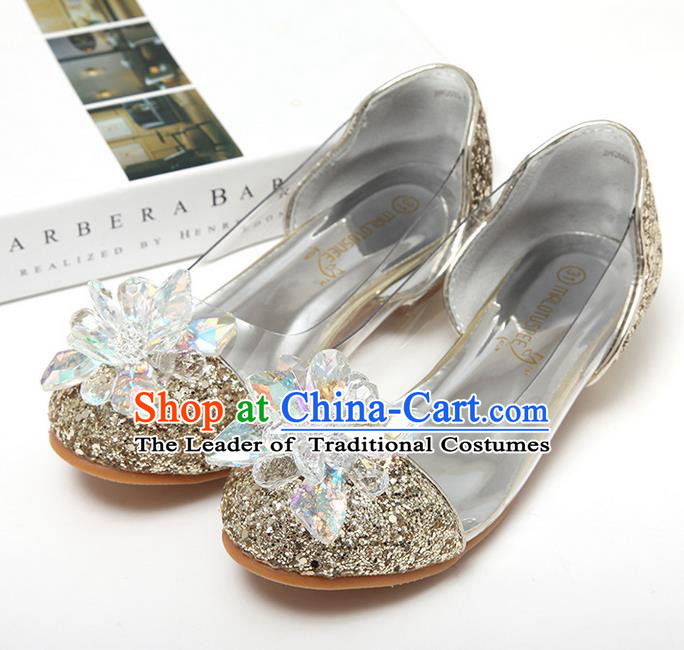 Top Grade Handmade Classical Crystal Dance Shoes, Children Baroque Style Wedding Princess Golden Dance Shoes for Girls